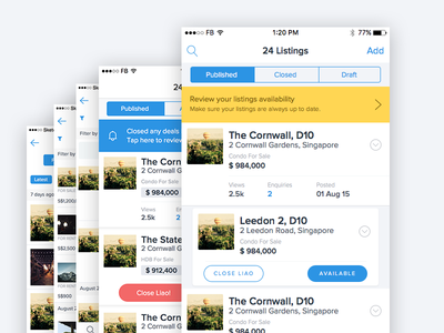 Dashboard - The process dashboard listing page sketch ios startup real estate