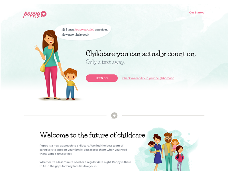 First Draft landing page webdesign childcare poppy