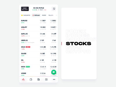 xStation Mobile - Instruments (animation) product design minimalism ui price xtb kohutpiotr after effect transition blur trading app list forex crypto market motion animation app platform finance trading