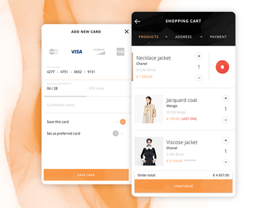 shopping cart & payment (iOS app) switch list kohutpiotr app fashion ui mobile ecommerce cart card visa payment