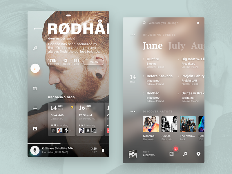 Events app - artist & home artist schedule music fluent mobile list menu navigation 10clouds kohut piotr ios ui