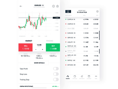 xStation app - list of instruments & details app cryptocurrency stocks forex trading trade exchange interface list animation finance market chart ui xtb xstation