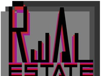 typographic logo of a real estate agency a background  of gray