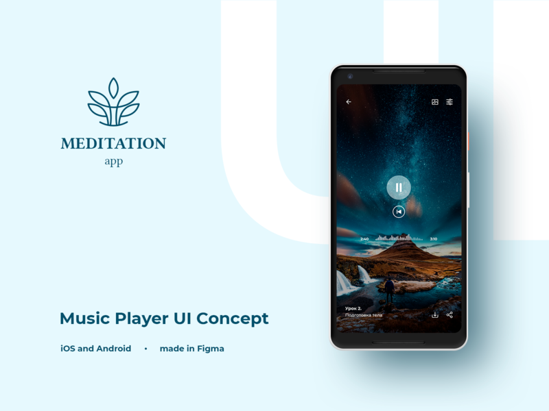 Music Player UI Concept minimal android app design ios app design android ios figma flatdesign luxury style ux meditation uidesign music design app design app player music concept