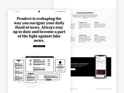 Pendect news journalism minimal illustration black  white startup web design website