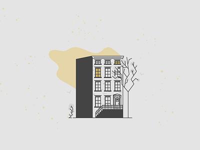 Buildings | Brownstone, NYC new york line black  white architechture minimal icons illustration