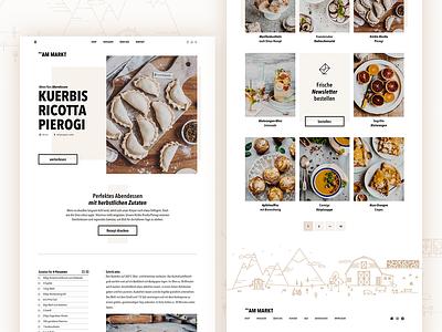 am Markt | Recipes landingpage minimal icons webdesign food blog illustration farmers market