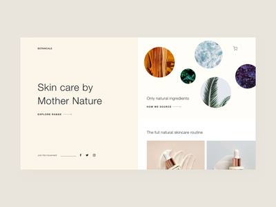 Light Skincare Webpage scandinavian lightui natural skincare design flat minimal ui