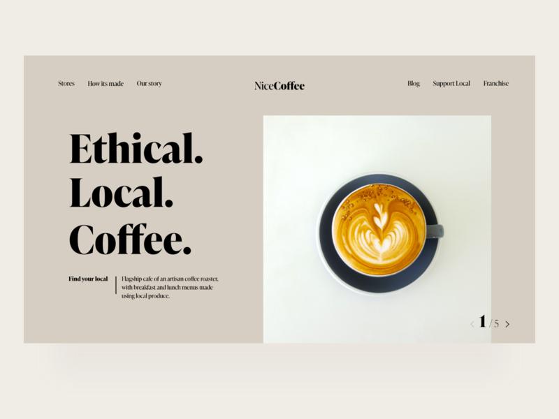 Local Coffee - Concept typography minimal uiux web design web local business coffeeshop coffee