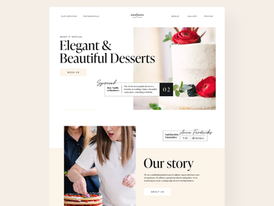 Dessert Catering Business Work beige typography design flat minimal ui web webdesign catering