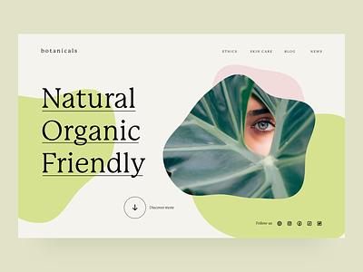 Natural Skincare landingpage webdesign skincareherbal typography skincare minimal ui