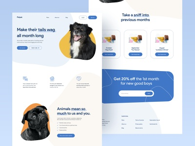 Pet subscription box product design ux typography design flat minimal ui pet care pets subscription dog pet