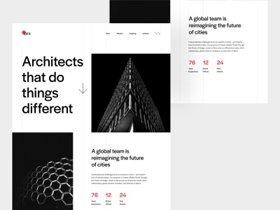 Architecture website architecture typography design flat minimal ui architect architecture website