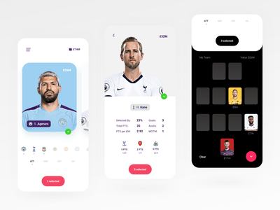 Fantasy Football typography sport product design ux mobile sports football soccer cards ui minimal flat