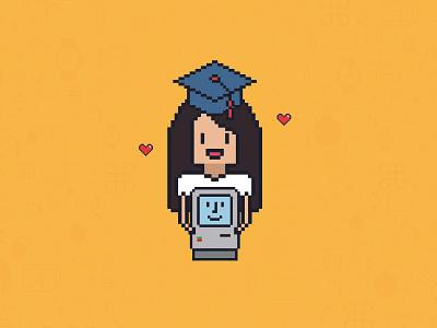 Graduation! 🎓 icons yellow debut draw portrait pixelart icon susankare mac macintosh heart beat graduation cap graduation degree pixel art pixel art illustration dribbble