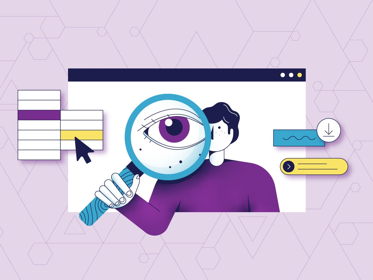 Micro Design composition character people illustration button cta line vector colorful pattern purple digital web icons design eye magnifying glass search