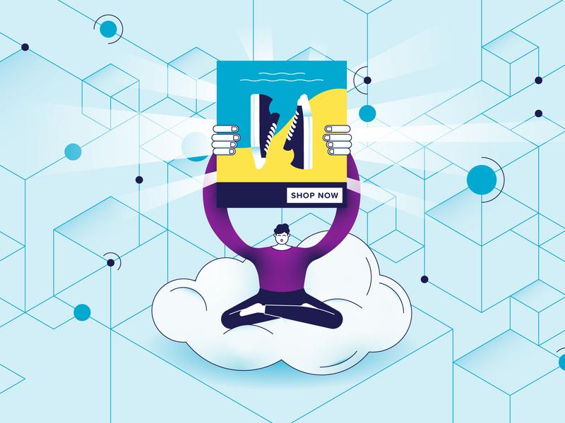 Ad Algorithm heaven light digital vector blue shoes paradise illustration line character advertising yoga isometry cloud data