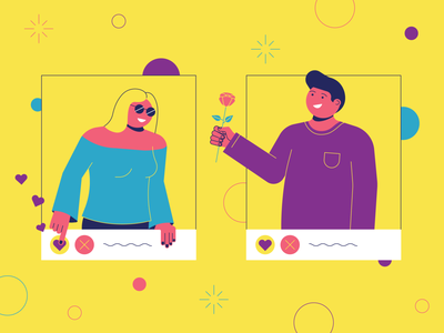 Dating App date like colorful tinder romantic rose flirt yellow line vector illustration profile love datingapp dating