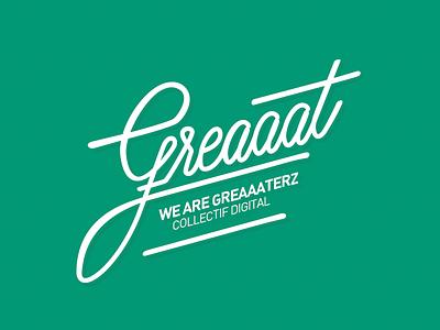 Greaaat logotype lettering calligraphy logo hand-writing brush-pen cursive
