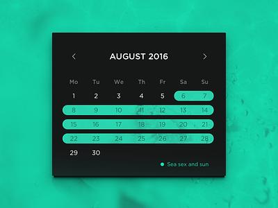 Summer vacation 2016 widget ui date interface calendar