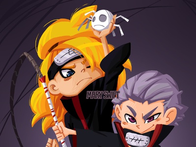 Hidan and Deidara Illustration cute character emotion anime akatsuki character desing character design