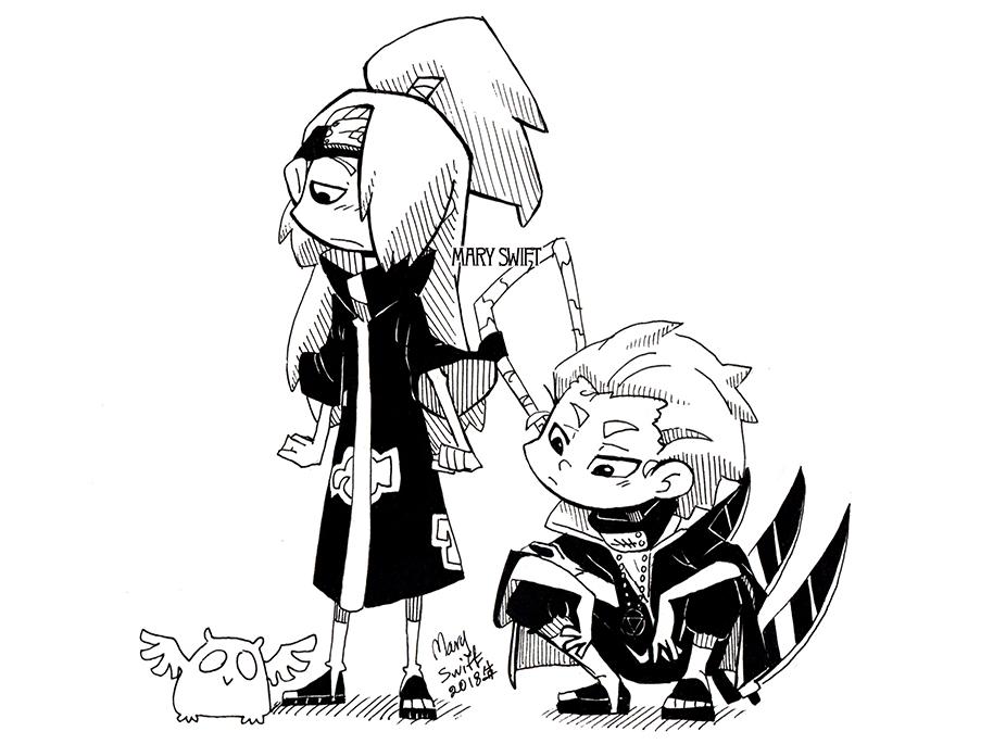 Hidan and Deidara cute deidara naruto hidan character emotion anime akatsuki character illustration desing