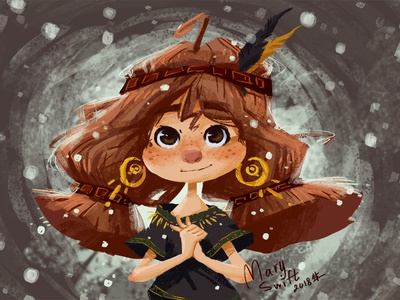 Little girl who saw the snow for the first time cute character emotion anime character illustration character design desing