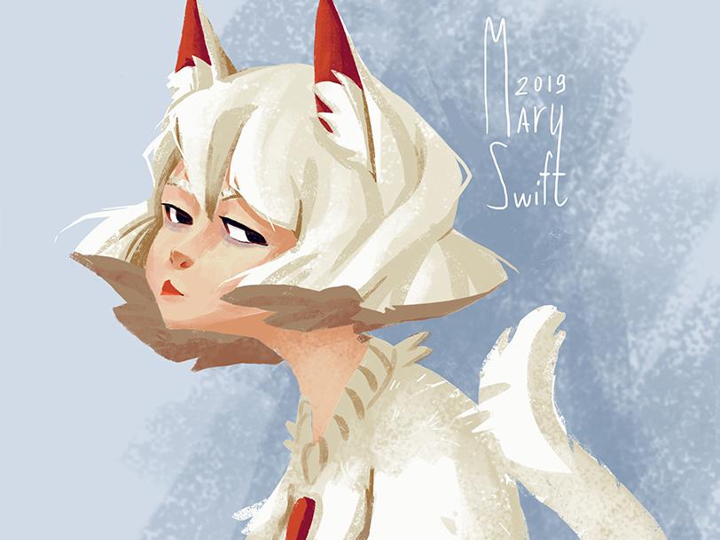 Cat-girl art cat-girl cat cute anime character emotion character design character illustration