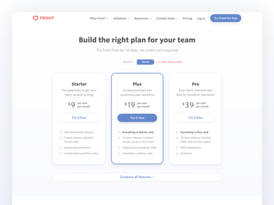 Pricing page refresh 💵 webdesign ui pro plus starter buttons cards plan website pricing