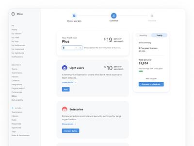 New Billing flow 💰 top navigation add-ons pricing bill process cards email front desktop app billing flow subscription