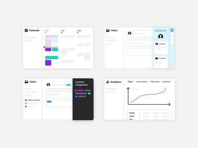 Illustrations product email front calendar app calendar analytics inbox features illustration