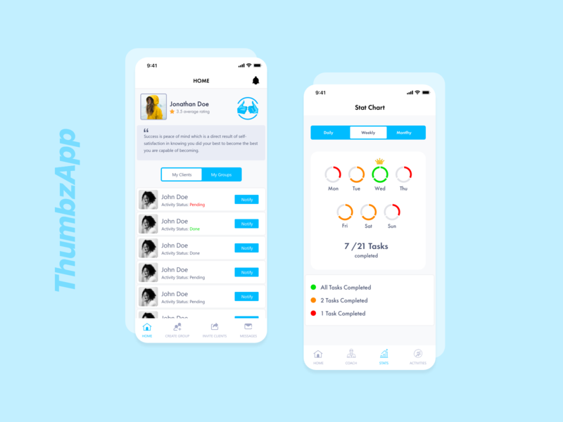 ThumbzApp mobile app design profile design adobexd app design mobile application ux design chart app interaction ui design