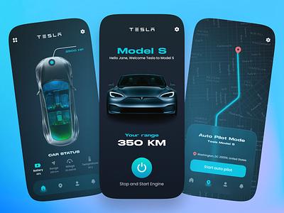 Tesla Car Mobile App UI mobile app design mobile app electric autopilot car tesla creative adobexd design ux design mobile application app interaction app design ui design