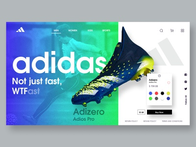 Adidas Football Shoe Landing page sketchers wtf football ui fashion reebok asics nike glassmorphism shoe ui header design landing design landing page uiux ux football shoe football adidas originals adidas noise