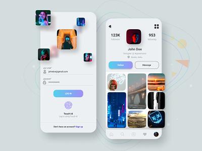 Social App User Interface Design facebook instagram uiuxdesign uiux profile page social app ui social app design ux ui login login ui login design profile design profile ui profile app interaction app design ui design