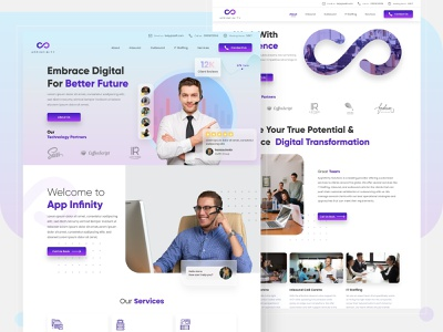 AppInfinity Landing Page Design revamp angular iot it logo branding design ux design landing page design service base interaction interface infinity design creative design uiux ux ui website landing page infinity