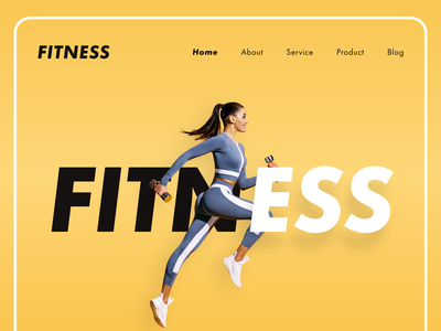 Fitness Landing Page Header Design typography yoga fitness website design fitness website fitness app fashion model design clean design landingpagedesign ux uiux ui headers landingpage header webstie exercise gym fitness