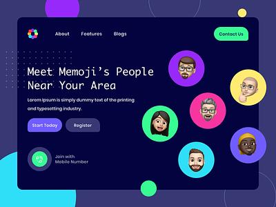 Memoji's People Near You sketch webdesigning ux design app design colors appdesign webdesign nearyou people clear concept creative design website iphone memoji ui design ux uxui ui