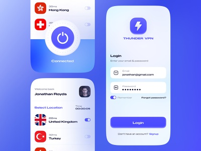Thunder VPN App UI/UX iphonex location vpn clean uiux creative ux ui mobile application app interaction ux design app design ui design design thunder