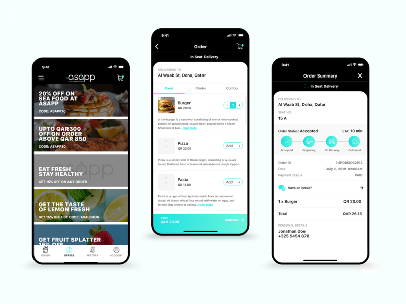 Asapp- Food Ordering App mobile application food app food ui design food tracking app food ordering app online delivery food design creative adobexd ux design app design app interaction ui design