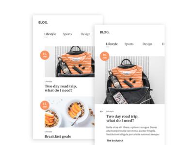 Lifestyle Blog appdesign orange stories ux ui article lifestyle blog apps app