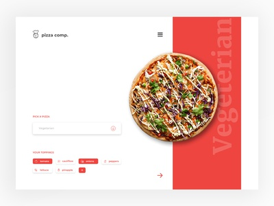 Pizza Company whitespace pizza menu pizzaday pizzafriday red napolian ingredients chef italian restaurant ux ui vegeterian toppings webdesign pizza