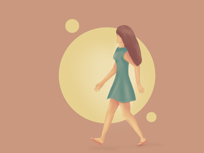 Woman walking madewithpose procreate character illustration