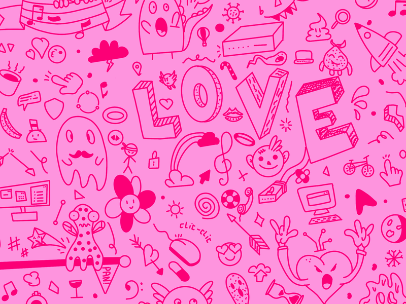 doodle Love illustration character music love pink doodle