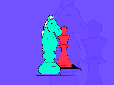 Strategy king horse chess piece project procreate illustration
