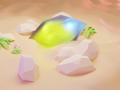 Crystal in sand leaf lowpoly rock crystal illustration blender