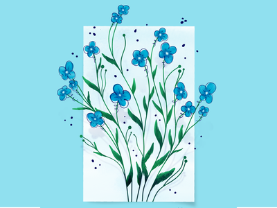 Blue flower illustration procreate floral flower