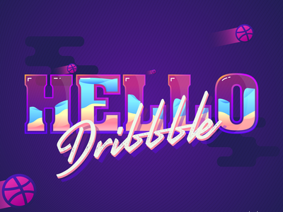 Hello Dribbble waves typography colors first shot hello dribbble