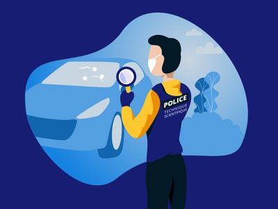 Scientific police police vector illustration character