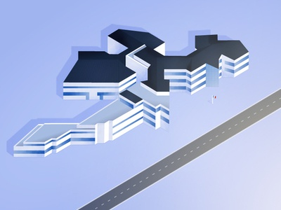 Realistic Building iso Illustration vector blue building isometric isometry iso